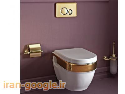سنگ توالت فرنگی وال هنگ مدل لوکس سفید طلایی همراه با صفحه کلید طلایی وارداتی از برند معتبر ترکیه